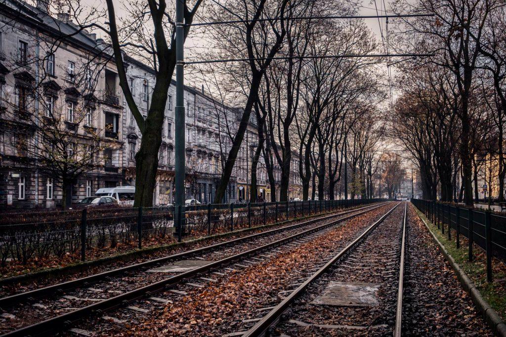 Binari del tram a Cracovia
